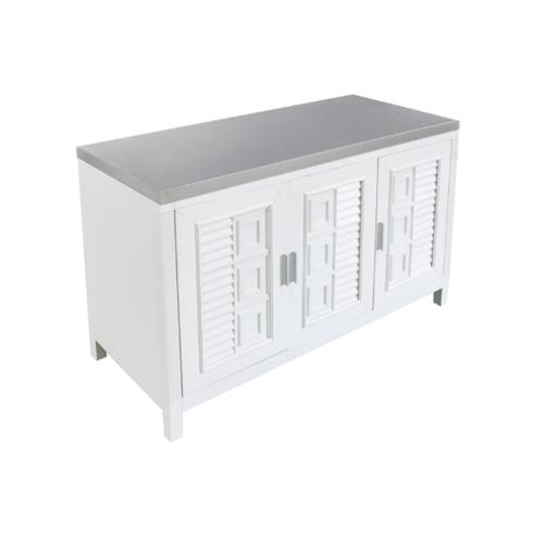 ADVANCE  ตู้พร้อมท๊อบสเตนเลสหน้าเรียบ 120x50x80 ซม.   C1T-5012  สีขาว