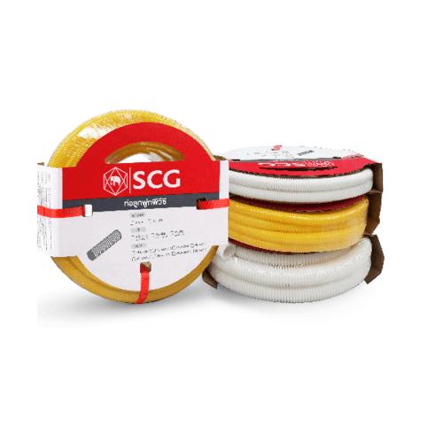 SCG PVC SCG-ลูกฟูกร้อยสายสีเหลือง NPI 18x5  PVC SCG-TOT CORRUGATED CONDUIT
