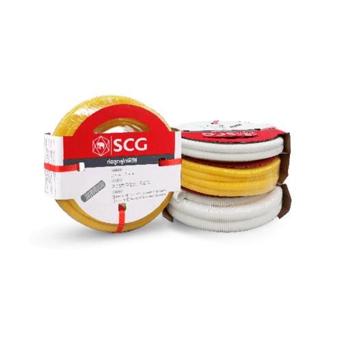 SCG PVC SCG-ลูกฟูกร้อยสายสีเหลือง NPI 20x5  PVC SCG-TOT CORRUGATED CONDUIT