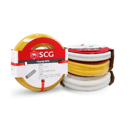 SCG PVC SCG-ลูกฟูกร้อยสายสีขาว NPI 20x5  PVC SCG-WHITE CORRUGATED
