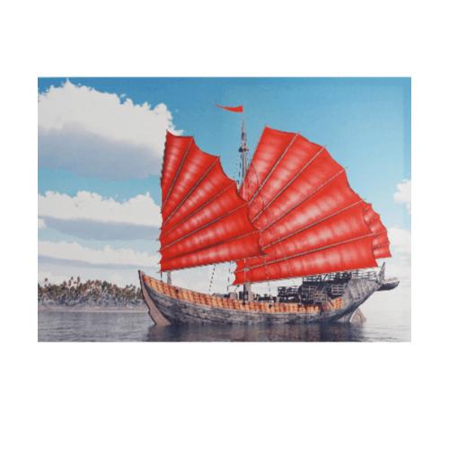 NICE รูปภาพพิมพ์ผ้าใบ Fengshui ขนาด 70x50 ซม. (ก.xส.) (เรือใบสีแดง) C7050-9
