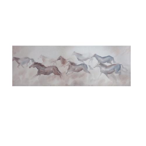 NICE รูปภาพพิมพ์ผ้าใบ Fengshui ขนาด 120x40 ซม. (ก.xส.) (กลุ่มม้าวิ่ง) C12040-1