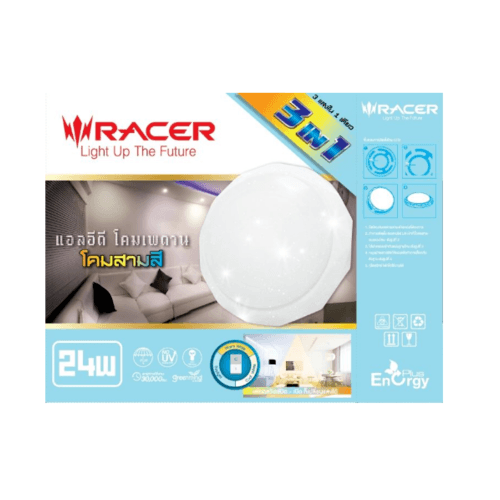 RACER โคมไฟเพดานแอลอีดี 24W ปรับได้ 3 แสง   TC2 STAR สีขาว