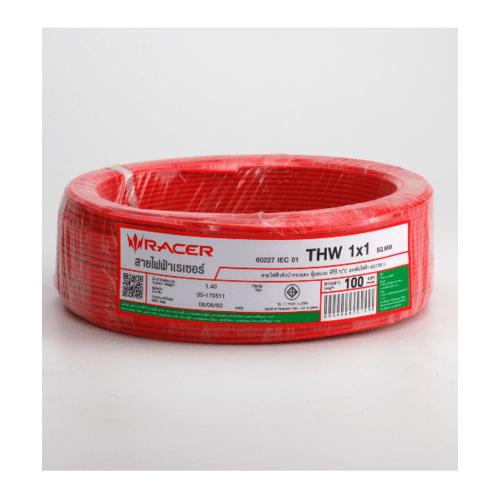 RACER สายไฟ Thw 1x1 100M สีแดง