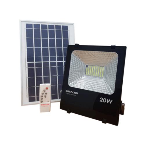 RACER ฟลัชไลท์แอลอีดีแสงอาทิตย์ 20 วัตต์ แสงขาว SOLAR LED FLOODLIGHT 20W 6500K IP65 สีดำ