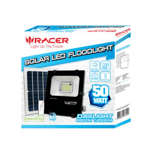 RACER ฟลัดไลท์แอลอีดีแสงอาทิตย์ 50 Wแสงขาว Racer SOLAR LED FLOODLIGHT 50W 6500K IP65 สีดำ