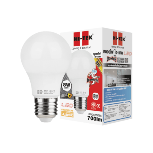 HI-TEK หลอด LED มวยไทย  Series  ขั้วเกลียว E27 8W แสงนวล HLLM27008W