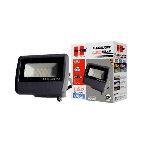 HI-TEK ฝลัดไลท์ LED มิลาน IP65 10W 220V สีเทาดำ แสงขาว HFOLFE10DG