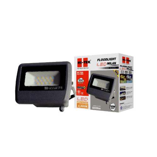 HI-TEK ฝลัดไลท์ LED มิลาน IP65 10W 220V สีเทาดำ แสงนวล HFOLFE10WG