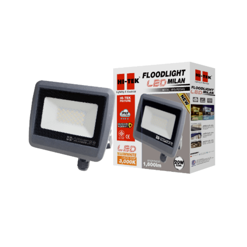 HI-TEK ฝลัดไลท์ LED มิลาน IP65 20W 220V สีเทาดำ แสงนวล HFOLFE20WG