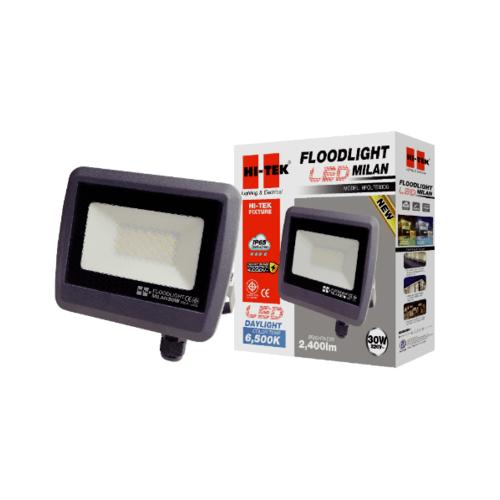 HI-TEK ฝลัดไลท์ LED มิลาน IP65 30W 220V สีเทาดำ แสงขาว HFOLFE30DG