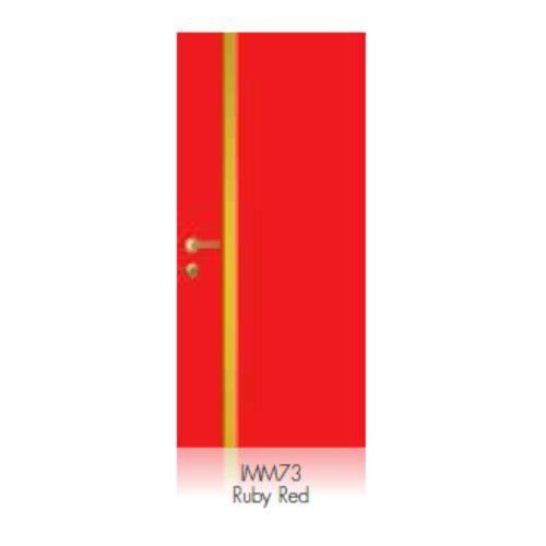 LEOWOOD ประตู iDoor Modish Metal Line เส้นกลาง/สีทอง ขนาด 80x200ซม. (IMM738)  สี Ruby Red
