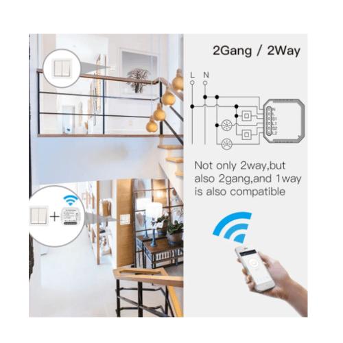 Luma Connect สวิทช์โมดุลช่องสัญญาณคู่ Wifi QS-WIFI-S03-MINIA-2C สีขาว