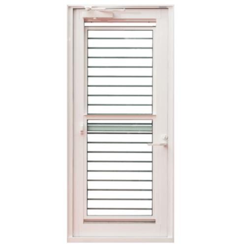 TRUSTAND (EZY WINDOW) ประตูอะลูมิเนียมบานเปิดเดี่ยว (เปิดซ้าย) 90x205ซม.พร้อมมุ้งลวด J-Trust ขาว