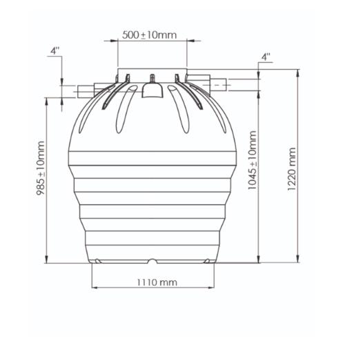 WAVE ถังบำบัดชนิดรวมไร้อากาศ   ZAD-800 ลิตร