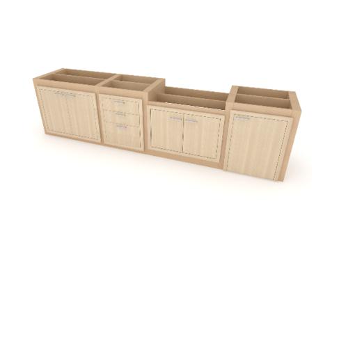 ReadyKitch  ชุดโครงเรียบตู้บานคู่/ลิ้นชัก/บานคู่เตา/บานเดี่ยวแก๊ส  MSP-30080-พาสวูด สีโอ๊คอ่อน