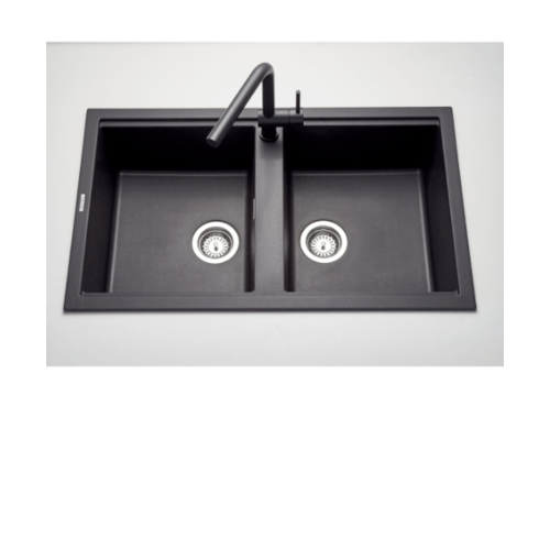 MEX อ่างล้างจานเนื้อแกรนิตสังเคราะห์ 2 หลุม ไม่มีที่พัก KIN20BL สีดำ