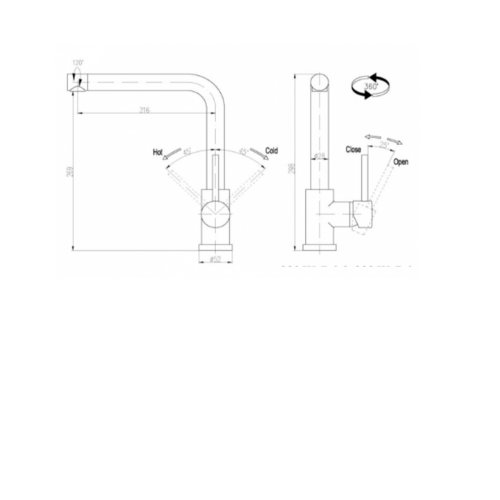 MEX ก๊อกน้ำเย็นก้านโยกทรงโค้งสูง  3325K-D6 (B)  สีโครเมี่ยม