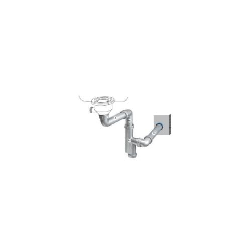 MEX ท่อระบายน้ำอ่างล้างจานพร้อมท่อกันกลิ่น ใช้กับอ่างล้างจานชนิด 1 หลุม P31PP สีเทา
