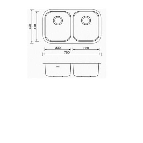 MEX อ่างล้างจานชนิดติดตั้งใต้ท็อป 2 หลุม BL33X2B