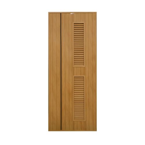 CHAMP  ประตูพีวีซี เซาะร่องสีโอ๊คพร้อมเกล็ดระบายอากาศ ขนาด 70x200ซม. สีสักทอง (เจาะ) Idea-IT7