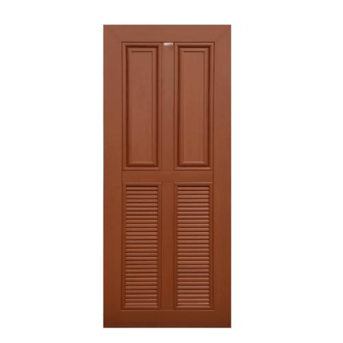 CHAMP ประตู WPC 2ฟักบน 2เกล็ดล่าง ขนาด 90x200ซม. สีโอ๊คแดง MW-3 WPC