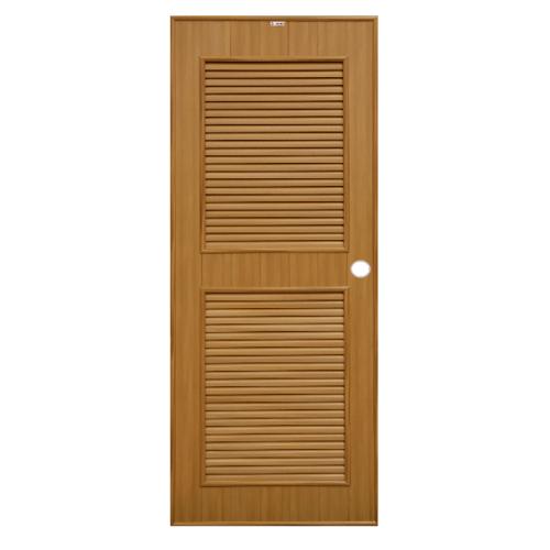 CHAMP ประตูพีวีซี เกล็ดเต็มบาน ขนาด  70x200cm.  P4 สีสักทอง