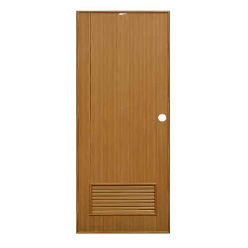 CHAMP ประตูPVC ขนาด (70x200)ซม. P-2สีลายไม้สักทอง(เจาะรู)