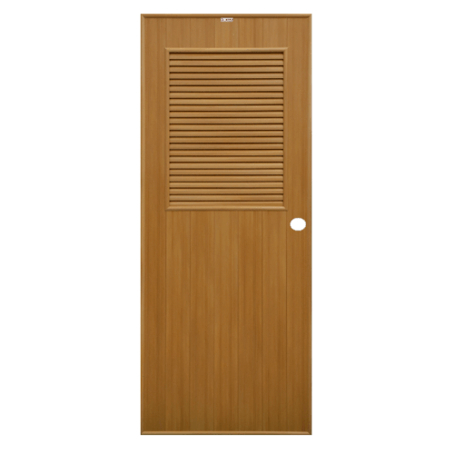 CHAMP ประตูPVC ขนาด (80x180)ซม. P-3 สีลายไม้สักทอง(เจาะรู)