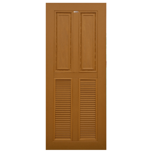 CHAMP ประตูไม้สังเคราะห์ 2ฟักบน 2เกล็ดล่าง ขนาด70X200cm. สีสักทอง ไม่เจาะ  MW3