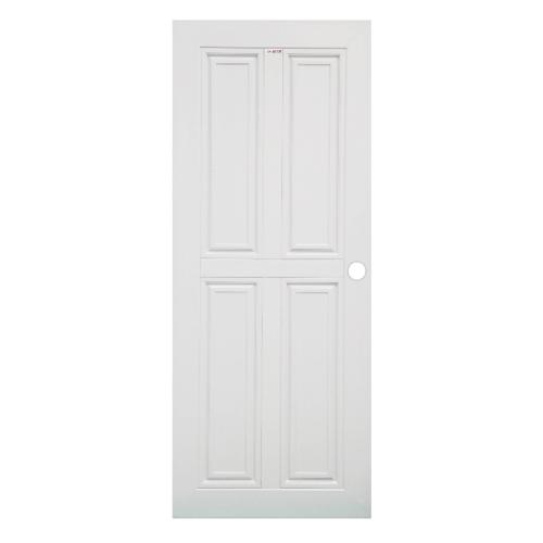CHAMP ประตู UPVC 4 ฟักตรงขนาด 90cm.x200cm.(เจาะ) MU-2 สีขาว