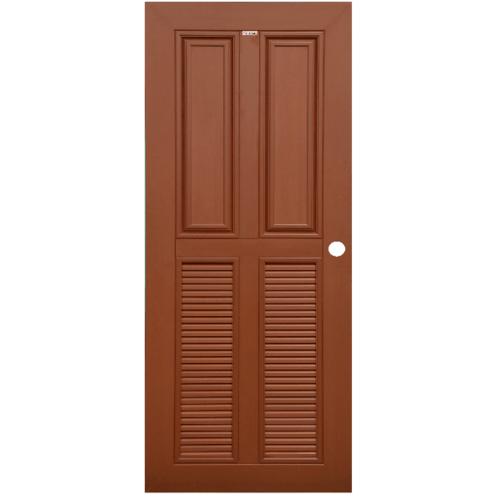 CHAMP ประตู WPC 2ฟักบน 2เกล็ดล่างขนาด  70cm.x200cm. สีโอ๊คแดง เจาะ   MW3