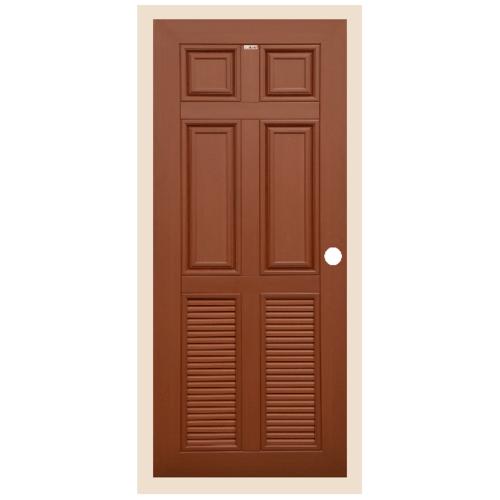 CHAMP ประตูไม้สังเคราะห์ 4ฟักบน 2เกล็ดล่าง ขนาด 70x200cm. สีโอ๊คแดง เจาะ  MW4