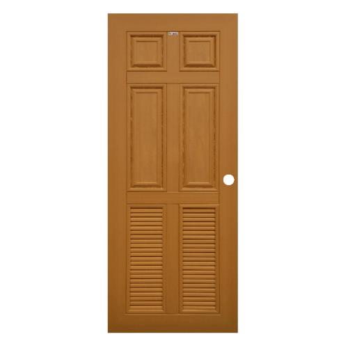 CHAMP ประตูไม้สังเคราะห์ 4ฟักบน 2เกล็ดล่าง ขนาด70x200cm. สีสักทอง เจาะ  MW4