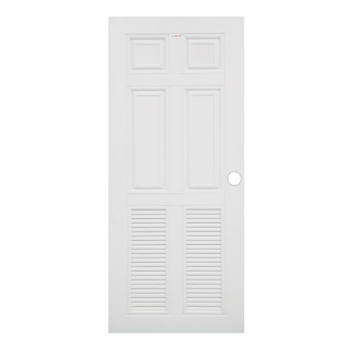 CHAMP ประตูยูพีวีซี 4ฟักบน 2เกล็ดล่าง ขนาด70x200cm.เจาะ  MW4  สีขาว