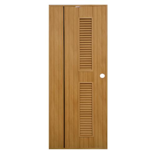 CHAMP  ประตูพีวีซี เซาะร่องสีโอ๊คพร้อมเกล็ดข้าง บน-ล่าง ขนาด  70x180ซม.  Idea-IT7 สีสักทอง