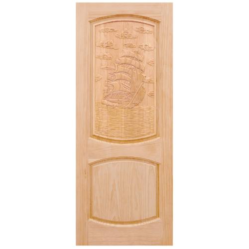 WINDOOR ประตูไม้สนNz บานทึบลูกฟักแกะลาย 90x200cm. LA 06 สีเหลือง