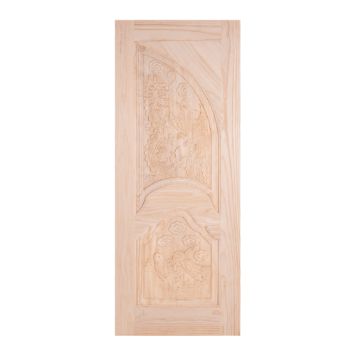 WINDOOR ประตูสลักลายไม้สนนิวซีแลนด์ ขนาด100x200ซม. LA 111 สีเหลือง