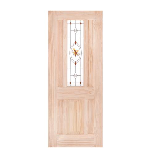 WINDOOR ประตู+กระจกไม้สนNz ขนาด100x200 cm. BURRA