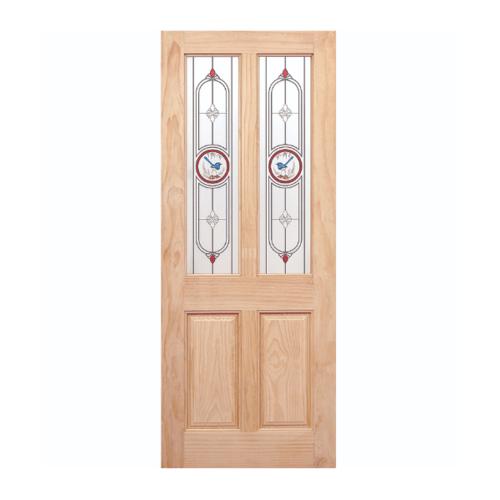 WINDOOR ประตู+กระจกสนนิวซีแลนด์ ขนาด80x200ซม. MJ-05 สีเหลือง