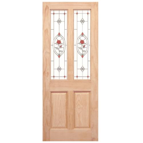 WINDOOR ประตู+กระจก สนNz  ขนาด 90x200 ซม. MJ-07