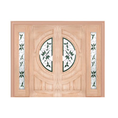 WINDOOR ประตู+กระจก  Com7 สนนิวซีแลนด์ขนาด 90x200ซม. GLARING GREEN