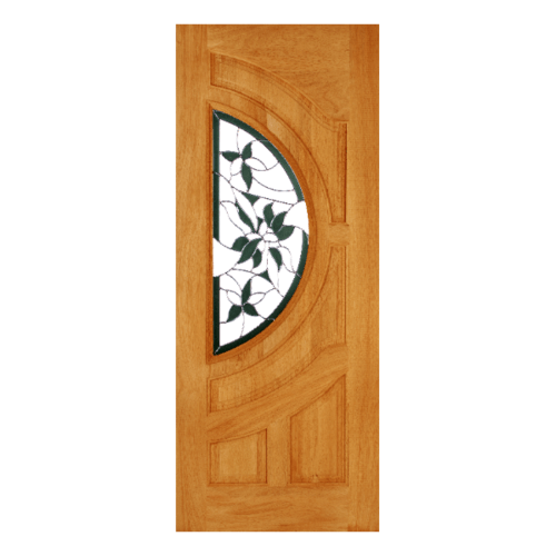 WINDOOR ประตู+กระจก  สัก  ขนาด 80x200 ซม. GLARING GREEN