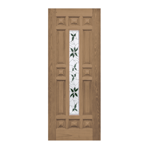WINDOOR ประตู+กระจก สัก  ขนาด 80x200 ซม. WD-129 สีน้ำตาล