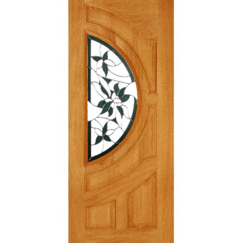 WINDOOR ประตู+กระจก  สัก ขนาด 70x200 cm. GLARING GREEN