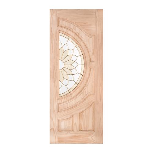 WINDOOR ประตู+กระจกไม้สัก ขนาด90x200ซม.  SUN FLOWER