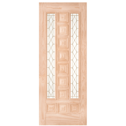 WINDOOR ประตู+กระจกไม้สนนิวซีแลนด์ ขนาด 90x230cm. BARCELONA สีเหลือง