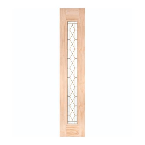 WINDOOR ประตูไม้สนNz บานเรียบพร้อมกระจกลายขนาด 40x200cm.  พีระมิด S/L สีเหลือง