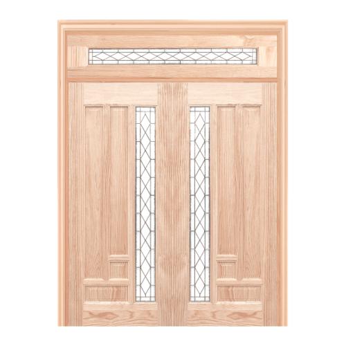 WINDOOR ประตูไม้สนNz ลูกฟักพร้อมกระจก พีระมิด ขนาด 80x200ซม. Com14