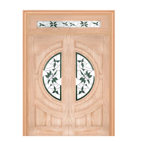 WINDOOR ประตู+กระจกCom14 สนนิวซีแลนด์ ขนาด 100x200ซม. GLARING GREEN